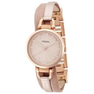 Fossil Women's ES3411 'Georgia' Rose Goldtone Leather Watch