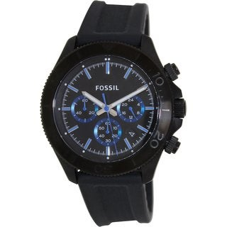 Fossil Men's 'Retro Traveler' Black/ Blue Chronograph Watch