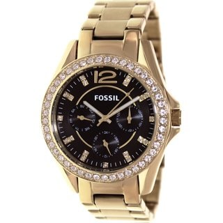 Fossil Women's Riley ES3384 Gold Stainless-Steel Quartz Watch with Black Dial