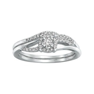 Beverly Hills Charm 14k White Gold 1/3ct TDW Halo Bridal Ring Set (H-I, SI2-I1)