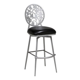 Brownsville 30-inch Filgree Cut-out Metal Back Swivel Bar Stool