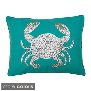 Sequin Crab Design Down Throw Pillow