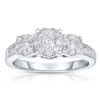 Unity 10k White Gold 1ct TDW Three-stone Diamond Ring (I-J, I2-I3)