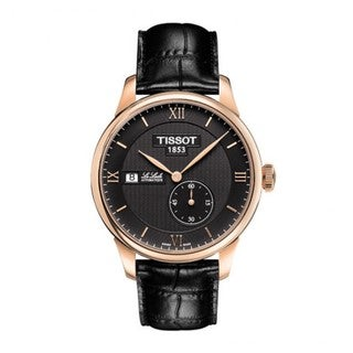 Tissot Men's T0064283605800 'Le Locle' Goldtone Black Leather Automatic Watch
