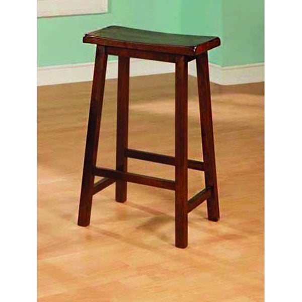 Walnut 29-inch Saddle Seat Barstools (Set of 2)