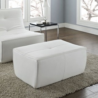 Align 2 Piece White Leather Armless Chair And Ottoman Set 16136985 Overst
