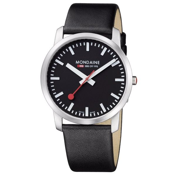 Mondaine Men's A638.30350.14SBB Simply Elegant Stainless Steel Black Leather Watch
