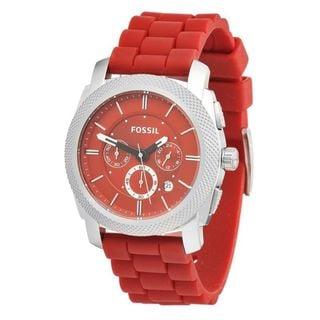 Fossil Men's FS4808 Machine Round Red Silicone Strap Watch