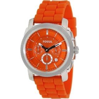 Fossil Men's FS4806 Machine Round Orange Strap Watch