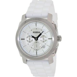 Fossil Men's Machine Chronograph White Silicone Watch