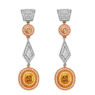 18k Three-tone Gold Victorian Style 1 2/5ct TDW Yellow Diamond Dangling Earrings (G-H, SI1-SI2)