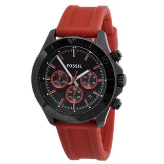 Fossil Men's Retro Traveler CH2871 Red Silicone Quartz Watch with Black Dial