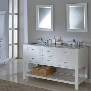 Pearl White 60-inch Mission Spa Double Vanity Sink Cabinet