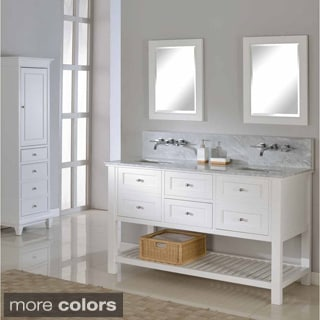 Pearl White 60-inch Mission Spa Premium Double Vanity Sink Cabinet