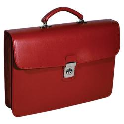 Royce Leather Kensington Single Gusset Briefcase Red