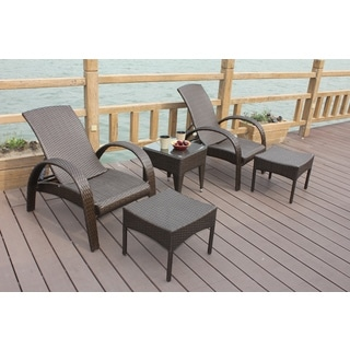 Cavalier 5-piece Outdoor Wicker Chat Set