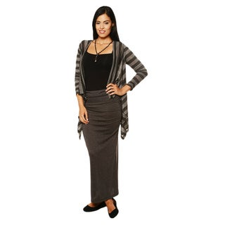 24/7 Comfort Apparel Women's Striped Long-sleeve Asymmetrical Shrug