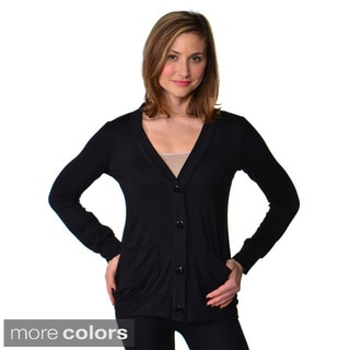 24/7 Comfort Apparel Women's Solid Button-front Cardigan