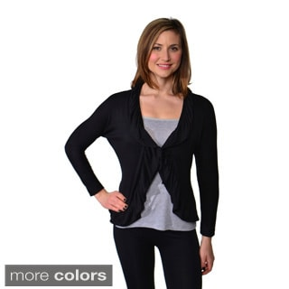 24/7 Comfort Apparel Women's Long Sleeve Tie-front Jacket
