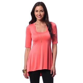 24/7 Comfort Apparel Women's High-low Elbow Sleeve Tunic