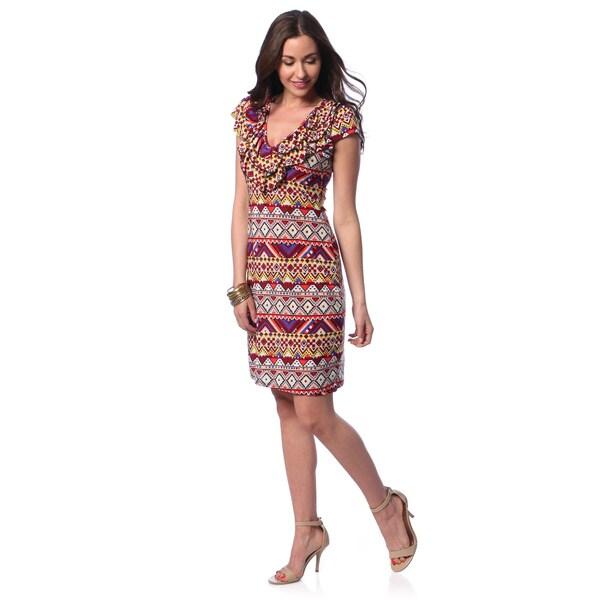 24/7 Comfort Apparel Women's Ruffled Neck Multicolored Tribal Knee-length Dress