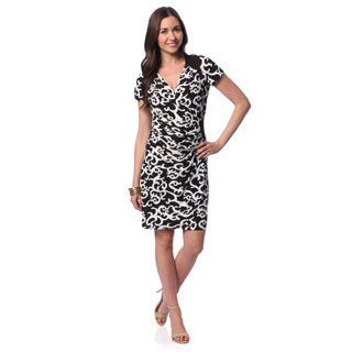 24/7 Comfort Apparel Women's Print Cap Sleeve V-neck Dress
