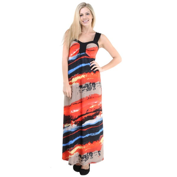 24/7 Comfort Apparel Women's Abstract Stripe Print Sleeveless Maxi Dress