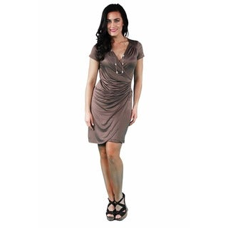 24/7 Comfort Apparel Women's Faux Wrap Knee-length Dress