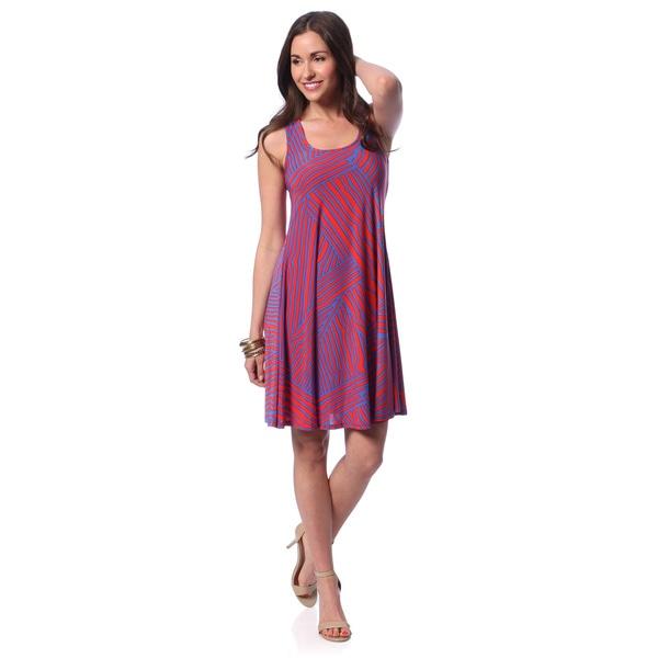 24/7 Comfort Apparel Women's Printed Sleeveless Knee-length Dress