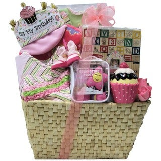 Baby's 1st Birthday Girls Gift Basket