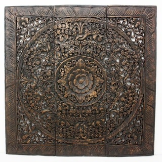 Hand-carved Black Stained Lotus Teak Wood Wall Panel (Thailand)