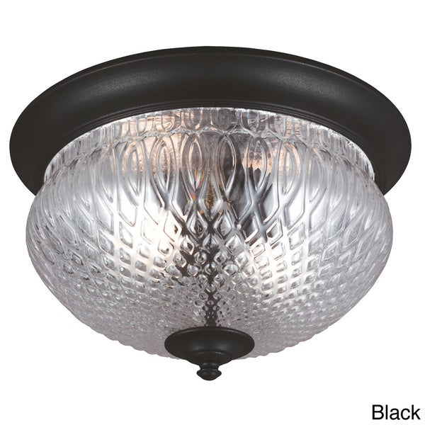 Garfield Park 2-light Clear Glass Outdoor Ceiling Flush Mount