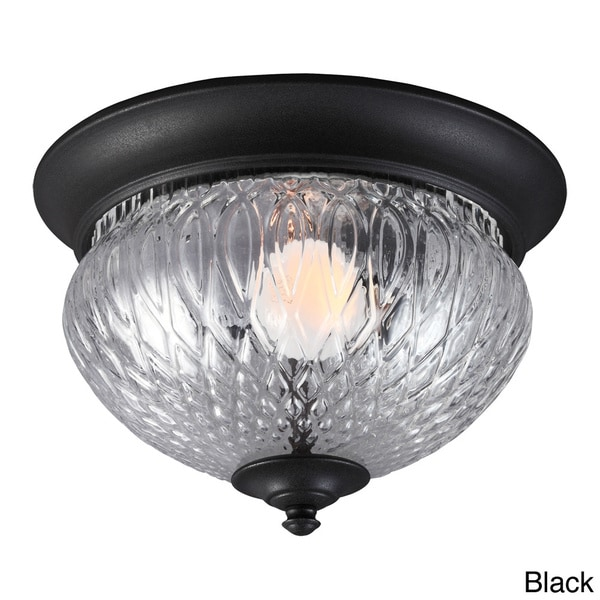 Garfield Park 1-light Clear Glass Outdoor Ceiling Flush Mount