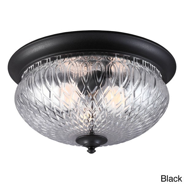 Garfield Park 3-light Clear Glass Outdoor Ceiling Flush Mount