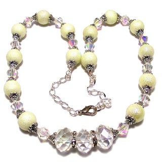 Off-white Bumpy Pearls and Crystals Jewelry Set