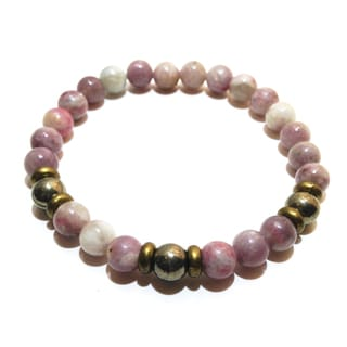Pink Tourmaline and Pyrite Bracelet