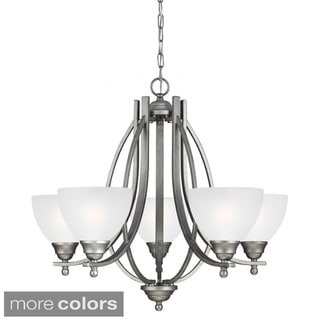 Vitelli 5-light Satin Etched Glass Shade Chandelier