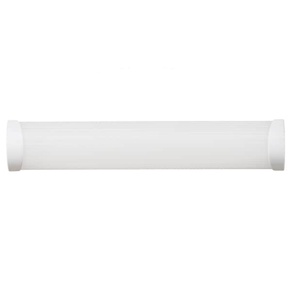 Fluorescent White 2-light Ceiling/ Wall Mount Fixture with White End Caps