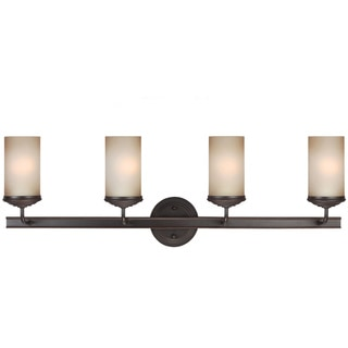 Sfera Autumn Bronze and Smokey Amber Glass 4-light Wall/ Bath Sconce