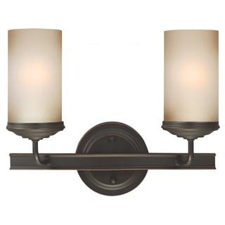 Sfera Autumn Bronze and Smokey Amber Glass 2-light Wall/ Bath Sconce