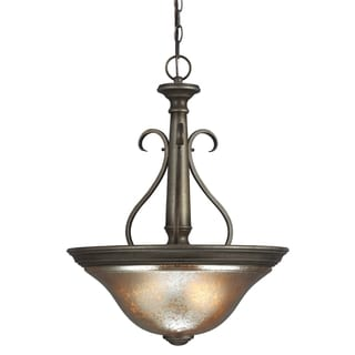 Blayne 3-light Platinum Oak/ Mercury Glass Pendant