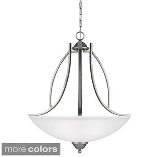 Vitelli 3-light Weathered Pewter/ Satin Etched Glass Pendant
