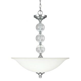 Englehorn 3-light Chrome/ White Glass Pendant