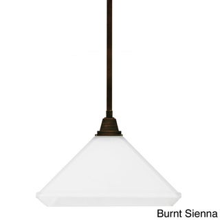 Denhelm Etched White Painted Glass Shade 1-light Pendant