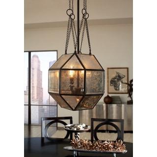 Lazlo Large 4-light Mercury Glass Heirloom Bronze Pendant