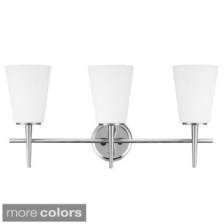 Driscoll 3-light Chrome Wall/ Bath Vanity with Etched Glass Painted White Inside