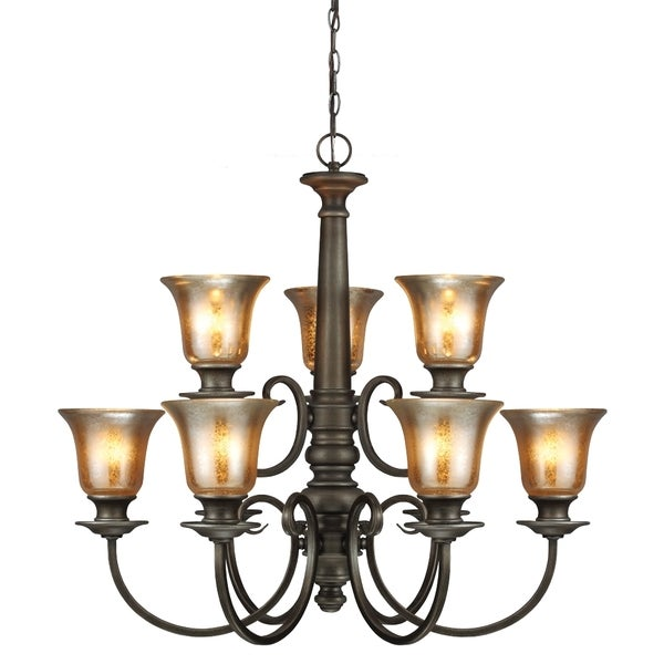 Blayne 9-light Platinum Oak Spindle Chandelier
