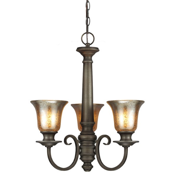 Blayne 3-light Platinum Oak Spindle Chandelier