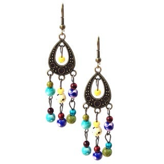 Bohemian Multi-colored Beaded Teardrop Dangle Earrings