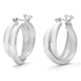 Sterling Silver Saddleback Double Hoop Earrings